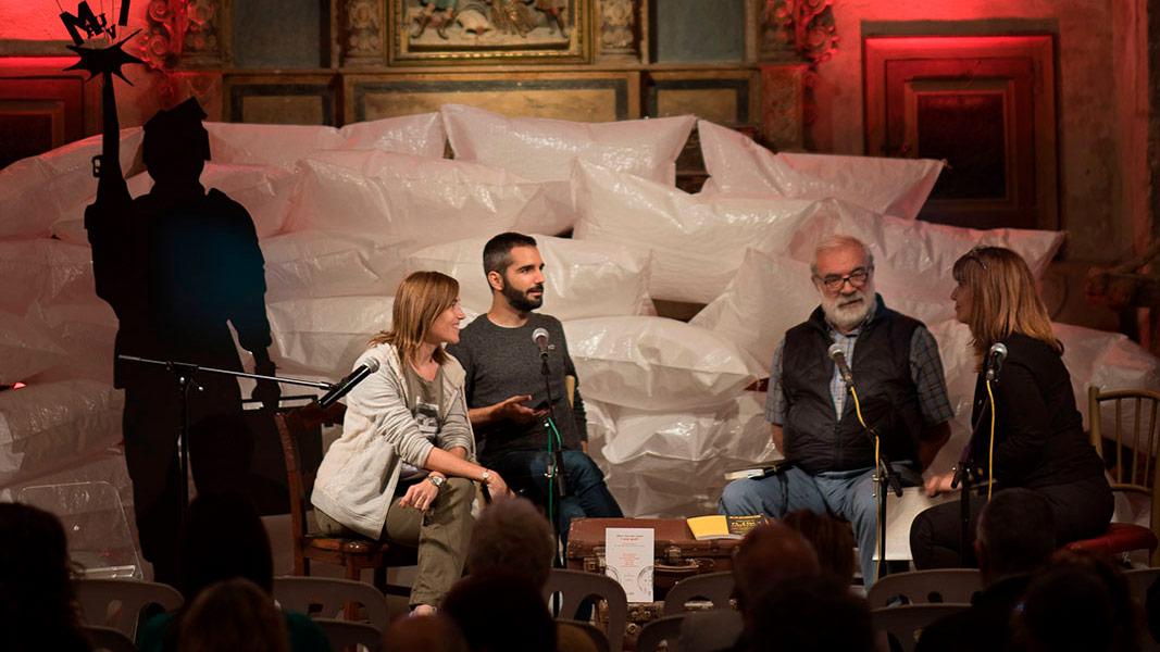 Clàudia Pujol, Albert Mercadé i Josep Enric Dallerès  entrevistats per Mònica Socias